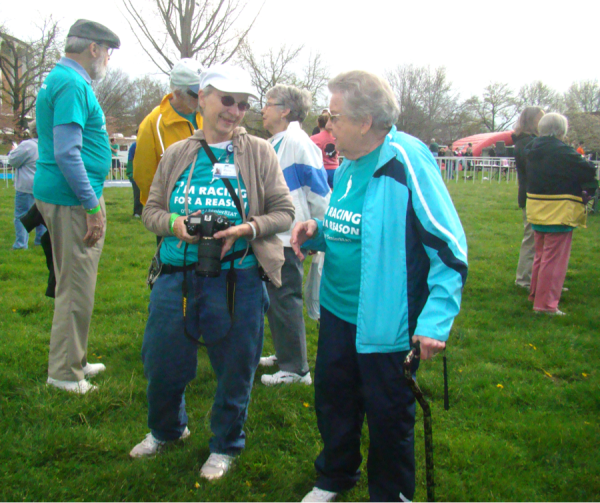 SeniorBeat Program Director Joy Miller Upton (left) talks with Rosemary Huntsman(right), at the 2014 Race for a Reason event.  Rosemary walked in the event and was 89 at the time of the race.
